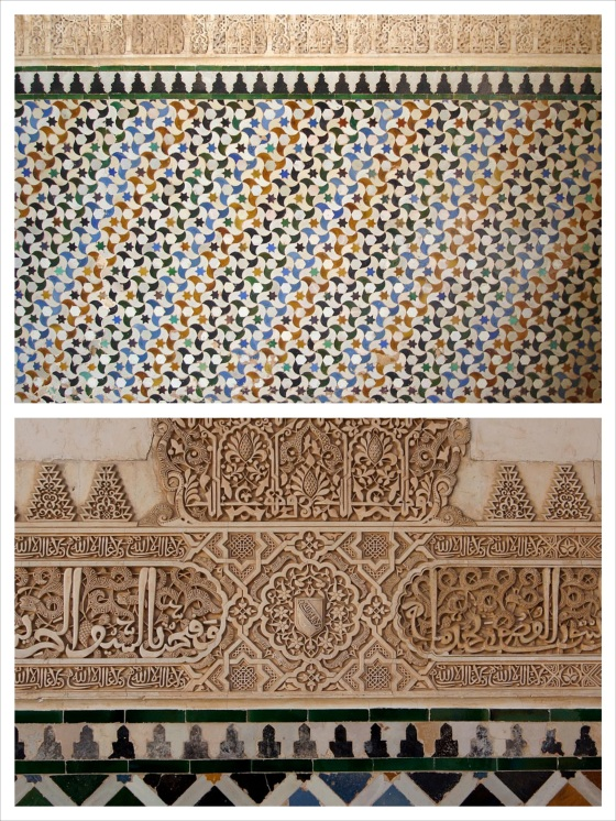 Alhambra floor tile inspiration. (Images from Wikimedia Commons. Digging up the Alhambra photos I took while I was in Granada would take at least thirty minutes of digging through old flash drives and I was busy painting a floor...ain't nobody got time for that!)