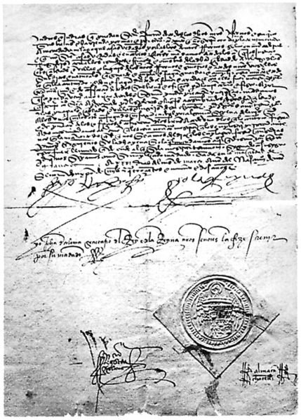 Signed copy of the Alhambra Decree, or Edict of Expulsion