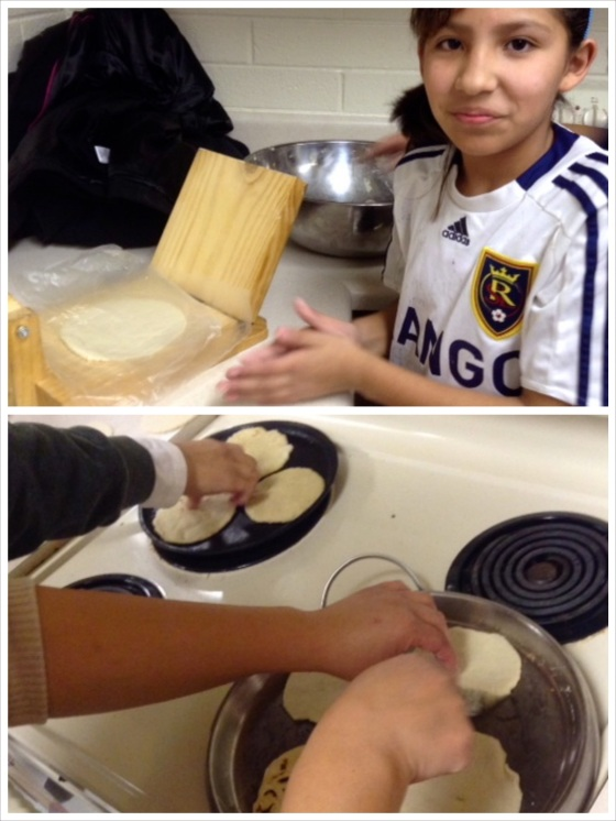 Above, a traditional wooden tortilla press from México; below, Ericka and Noelia fry up the little beauties.