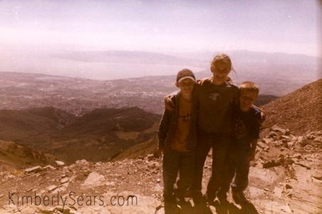 Logan (age eight), Evan (age six), and me (age ten) on top of Mt. Timpanogos